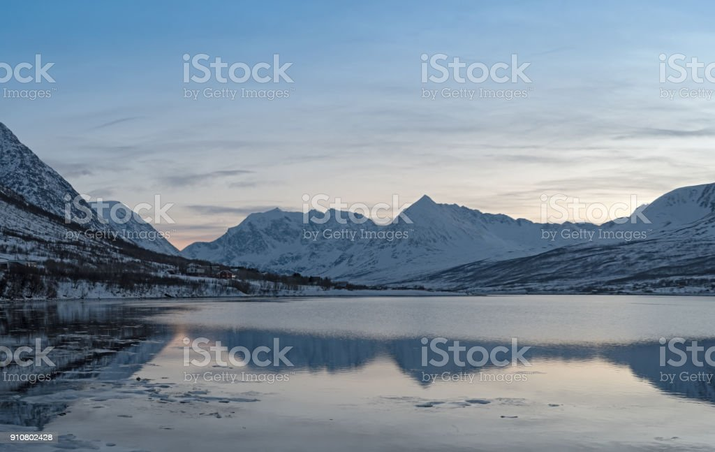 View of the fjord and the Lyngen Alps near Nord-Lenangen, Lyngen, Troms county, Norway stock photo