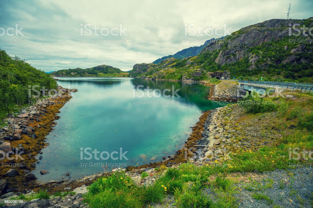View of the fjord. Rocky seashore.  Road along the fjord. Beautiful nature Norway. royalty-free 스톡 사진