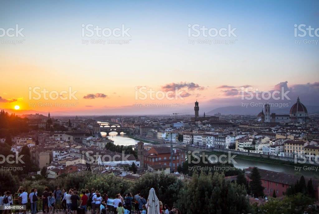 View of the Florence at sunset, Italy stock photo