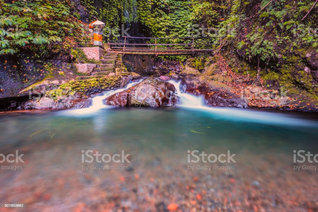 View of the flowing river in Bali stock photo