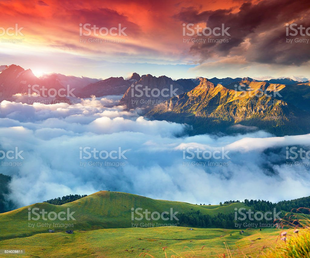 View of the foggy Val di Fassa valley stock photo