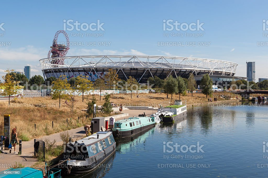 View of the former Olympic Stadium in London. stock photo