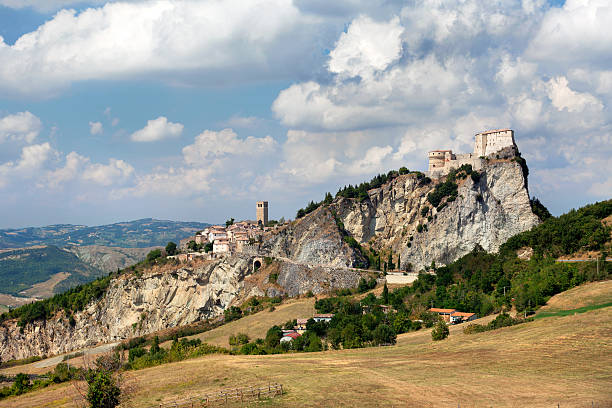 View of the fortress in San Leo town stock photo