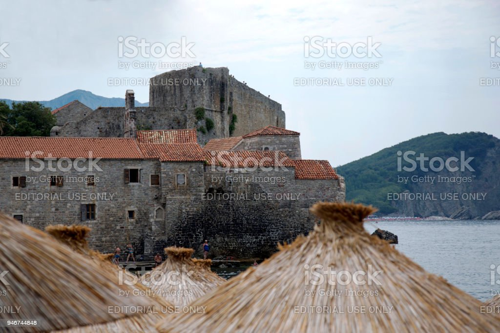Budva, Montenegro - August 03, 2017:View of the fortress of St. Mary from the beach. stock photo