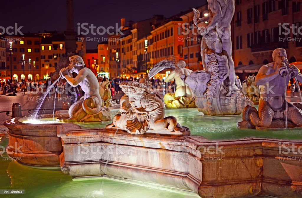 View of the Fountain of the Moor (Fontana del Moro) stock photo