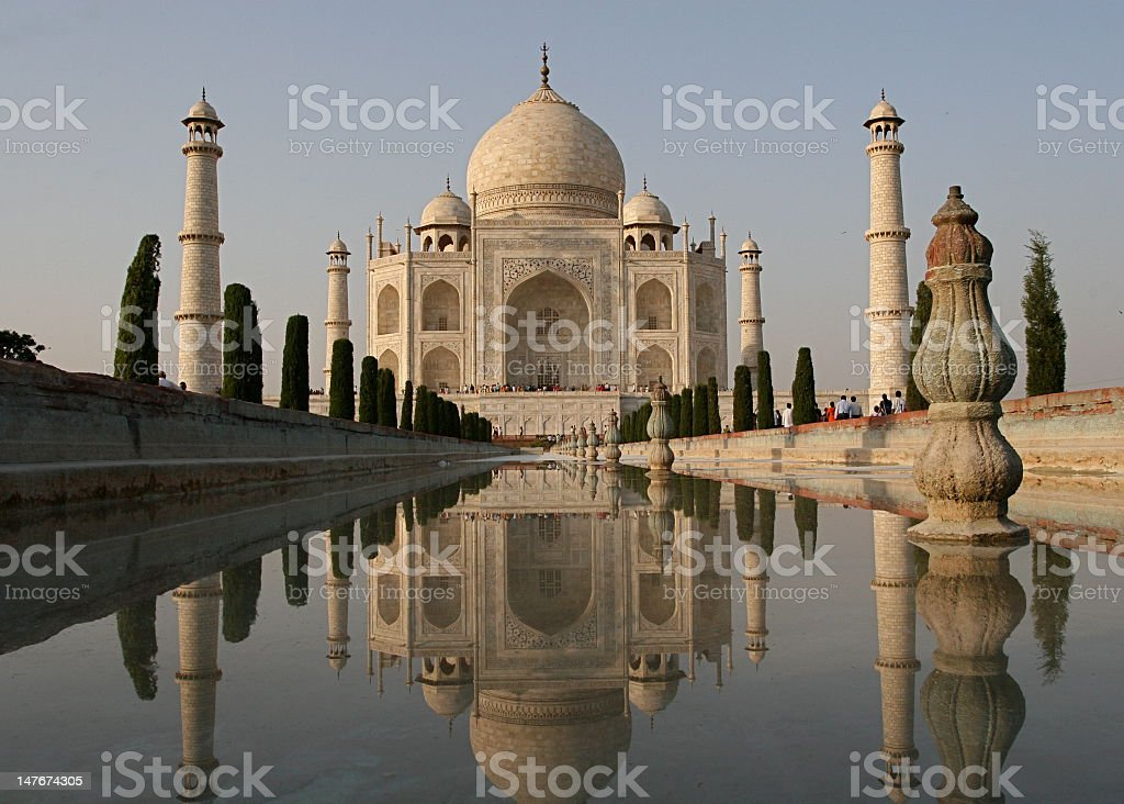 View of the front of the famous Taj Mahal building in India stock photo