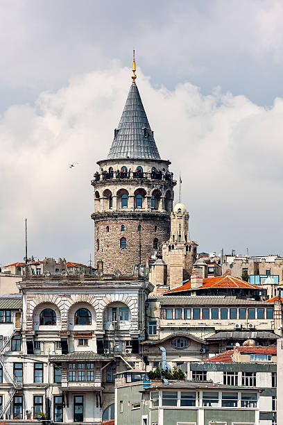 View of the Galata Tower in Istanbul, close-up. Turkey.