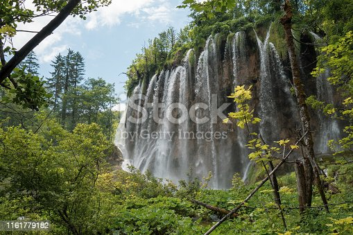 Masses of water splashes down a mountain. Plitvička Jezera, Croatia - June 25th 2019 - Official photography permission obtained by the Plitvice Lakes National Park and available on request.