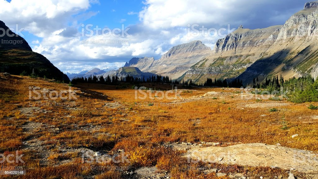 View of the Garden Wall from the Hidden Lake Trail in Glacier National Park stock photo