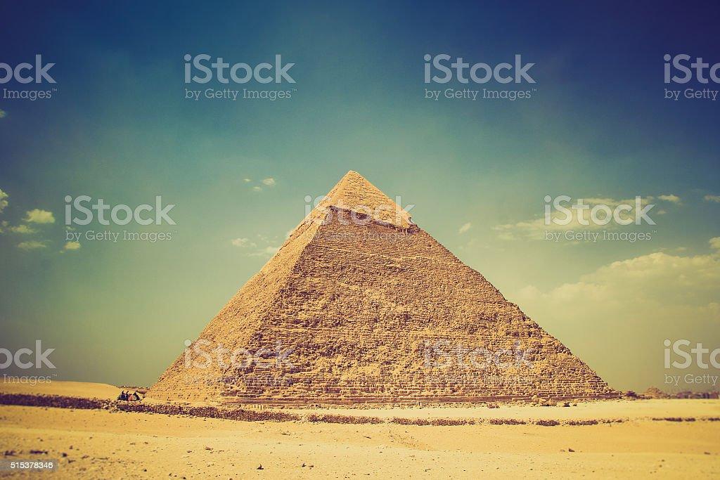View of the Giza Pyramids. Egypt. Cairo. stock photo