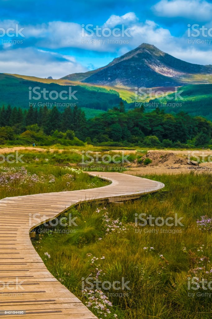 "View of the Goat Fell Mountain, Brodick (Tràigh a' Chaisteil, ""Castle Beach"", Breadhaig) the main town on the Isle of Arran in the Firth of Clyde, Scotland. stock photo"