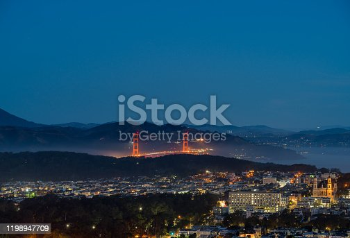 View of the Golden Gate Brdige At Night With Fog Over the Bay