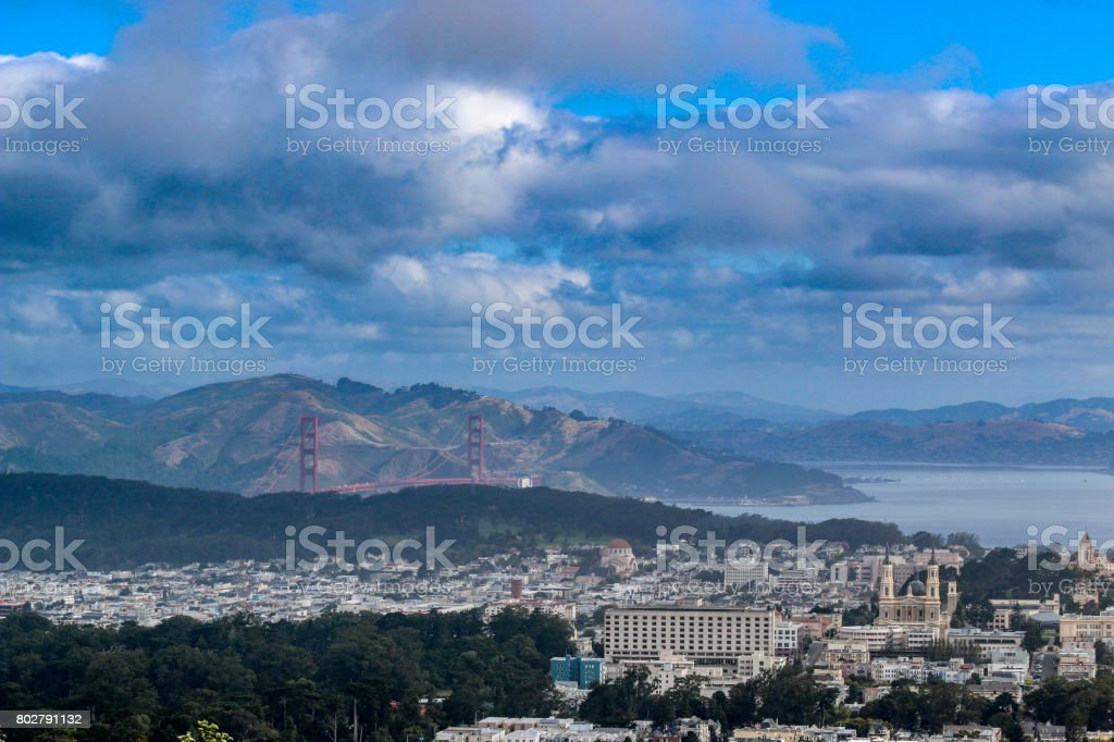View of the Golden Gate Bridge from Twin Peaks Hill stock photo