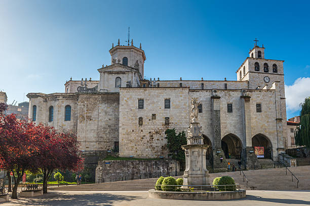 View of the Gothic Cathedral of Santander stock photo
