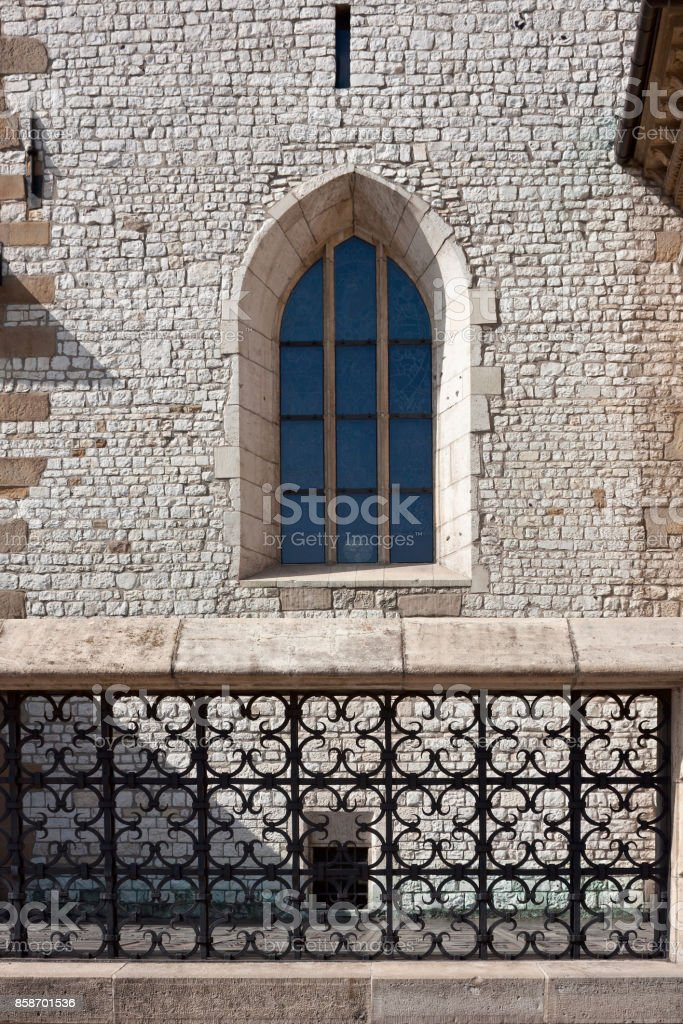 View of the Gothic window of the Wawel Cathedral in the city of Krakow stock photo