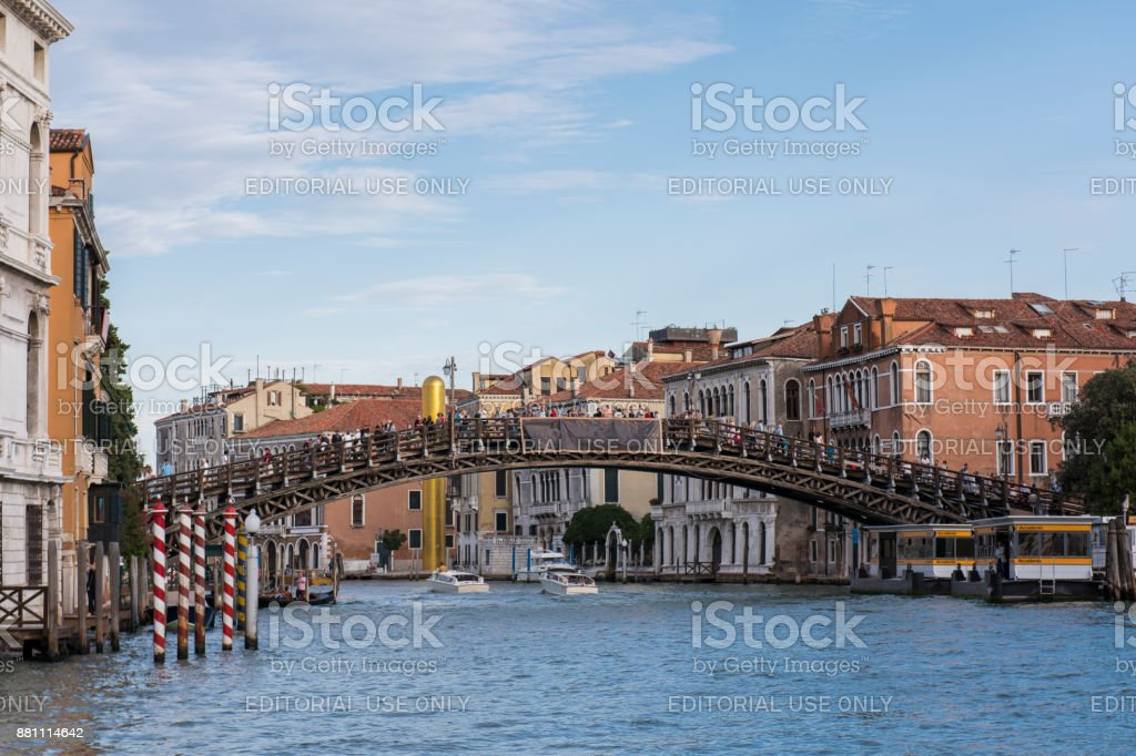 View of the Grand Canal and Accademia Bridge at Venice, Italy. stock photo