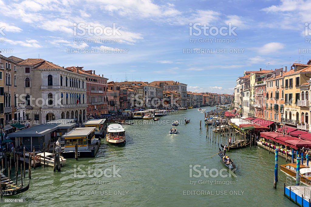 View of the Grand canal Venice with boats and buildings stock photo