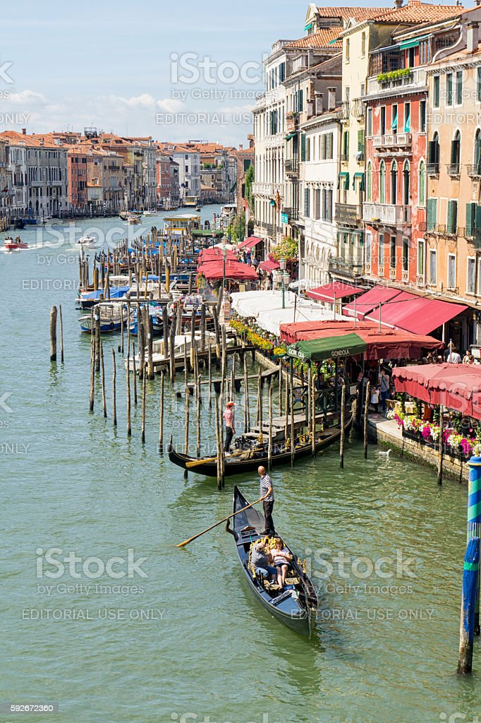 View of the Grand canal Venice with Gondolas stock photo
