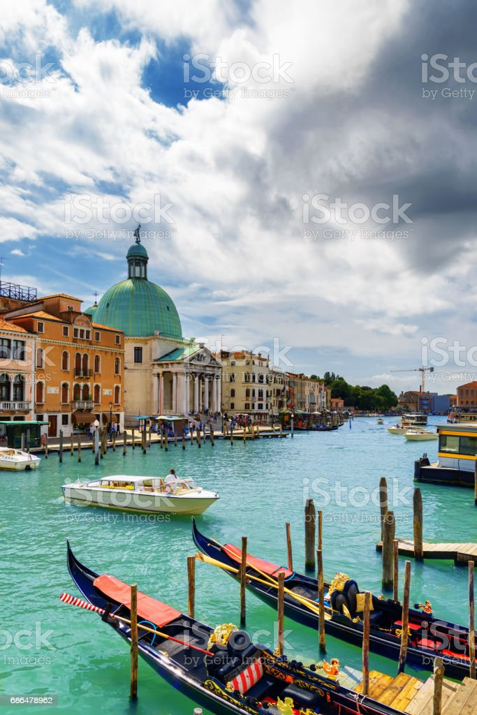 View of the Grand Canal with gondolas in Venice, Italy stock photo