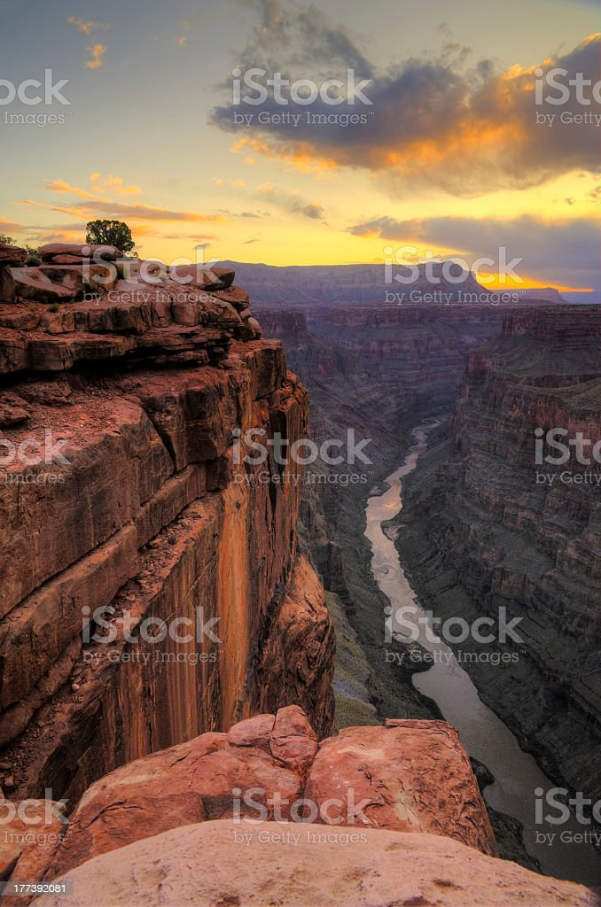 View of the Grand Canyon from Toroweap Point at sunrise stock photo