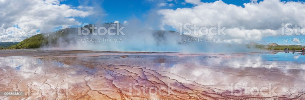 View of the Grand Prismatic Spring in in Yellowstone National Pa stock photo