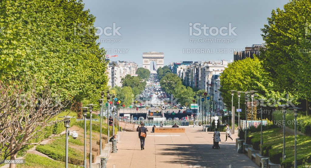 view of the Grande Armee avenue from the business district of La Defense stock photo