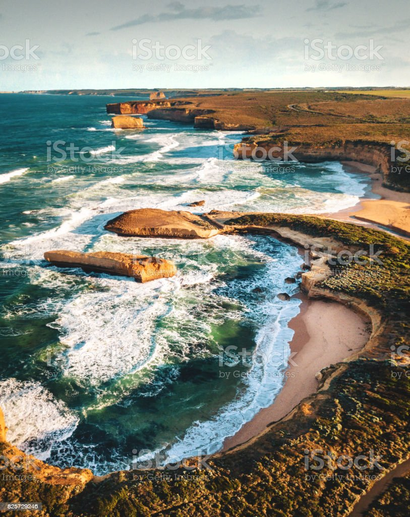 view of the great ocean road coastline in south australia stock photo