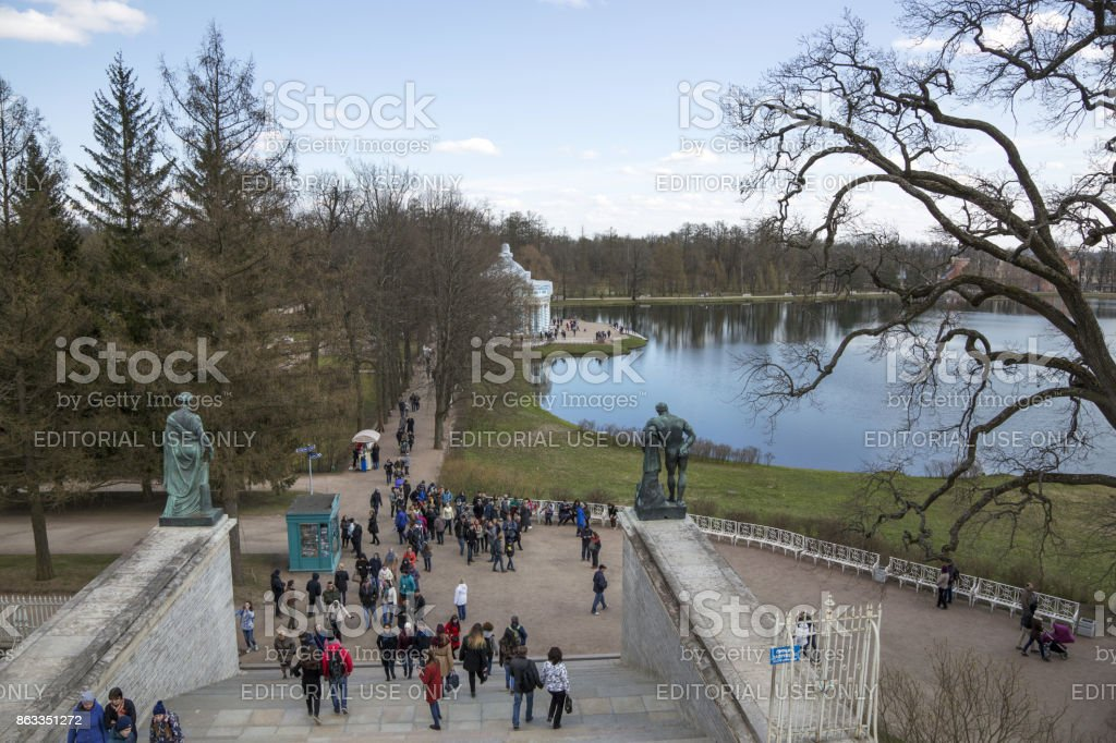 View of the Great Pond of Catherine Park from the Cameron Gallery in Pushkin stock photo