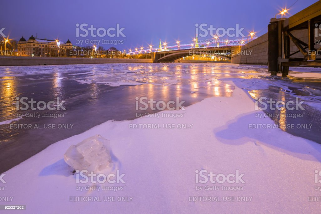 View of the Great Stone Bridge from the ice of the Moscow River stock photo