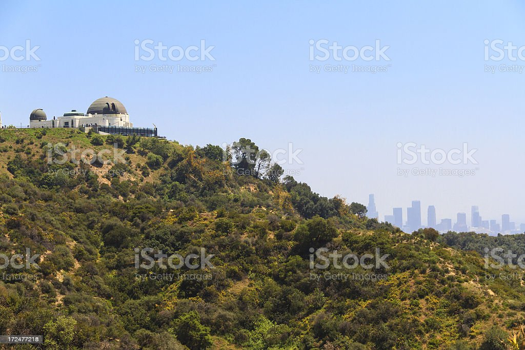 View of the Griffith Observatory and Los Angeles Skylinie stock photo