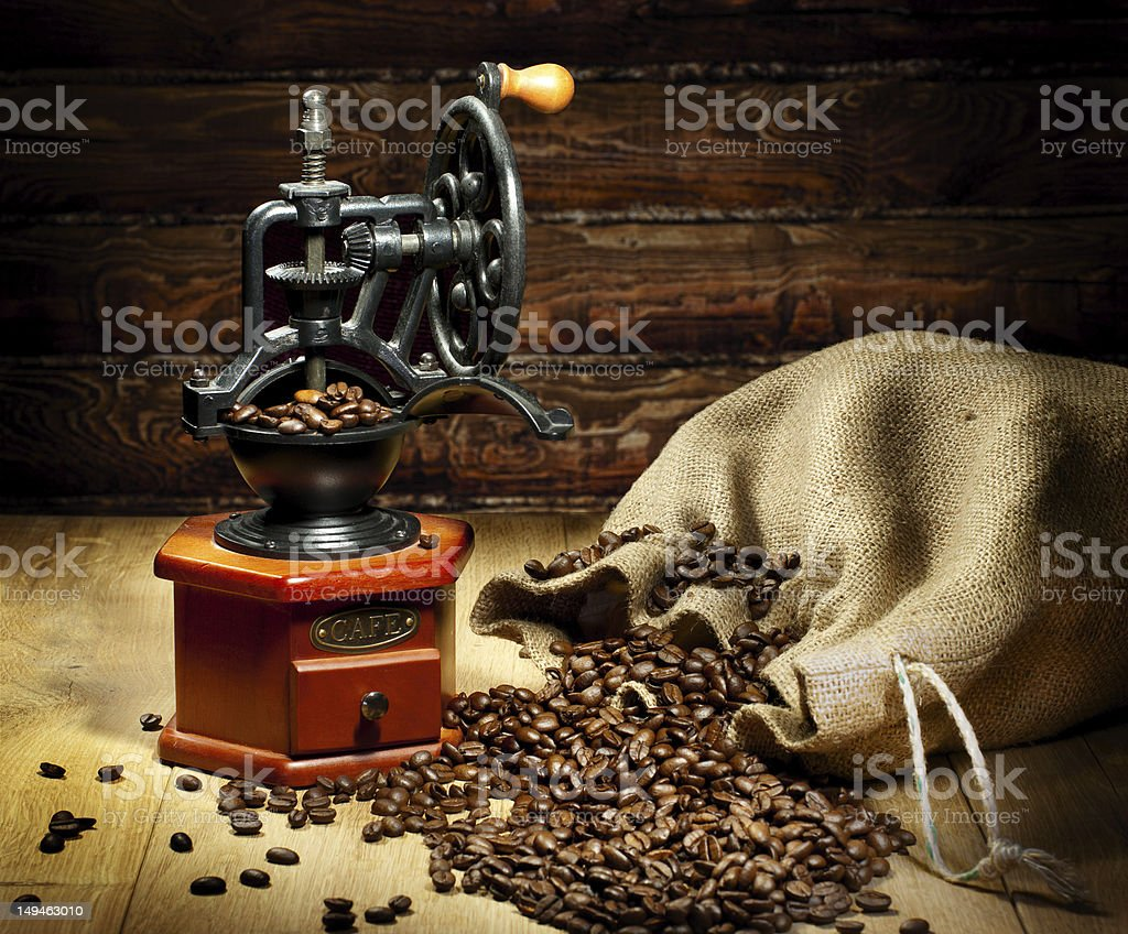view of the grinder with coffee beans royalty-free stock photo