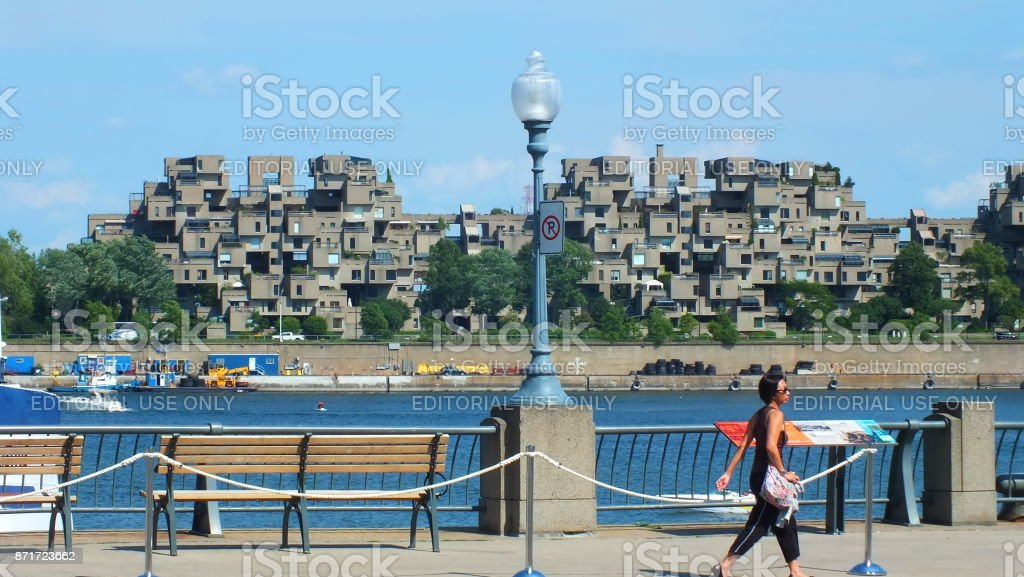 MONTREAL, QUEBEC, CANADA - JULY 31, 2013:  A view of the Habitat 67 apartments in Montreal.  Was built for Expo 67. stock photo