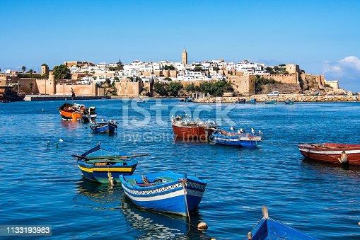 View of the harbour of Rabat, Morocco located in the river Bou Regreg at the mouth of the Atlantic Ocean.