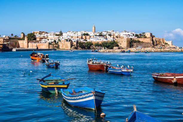 utsikt över hamnen i rabat, marocko i afrika - rabat marocko bildbanksfoton och bilder