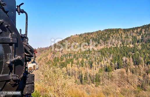 View of the Harz Mountains from a steam locomotive.