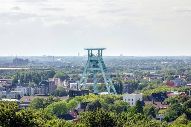 View of the Headframe in Bochum, Germany View of the Headframe in Bochum, Germany, cityscape north rhine westphalia stock pictures, royalty-free photos & images