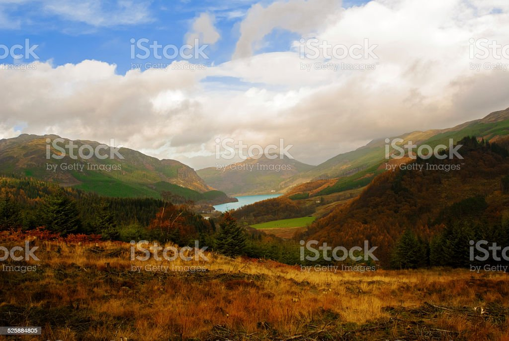 View of the hillside above Loch Lubnaig in the Trossachs stock photo