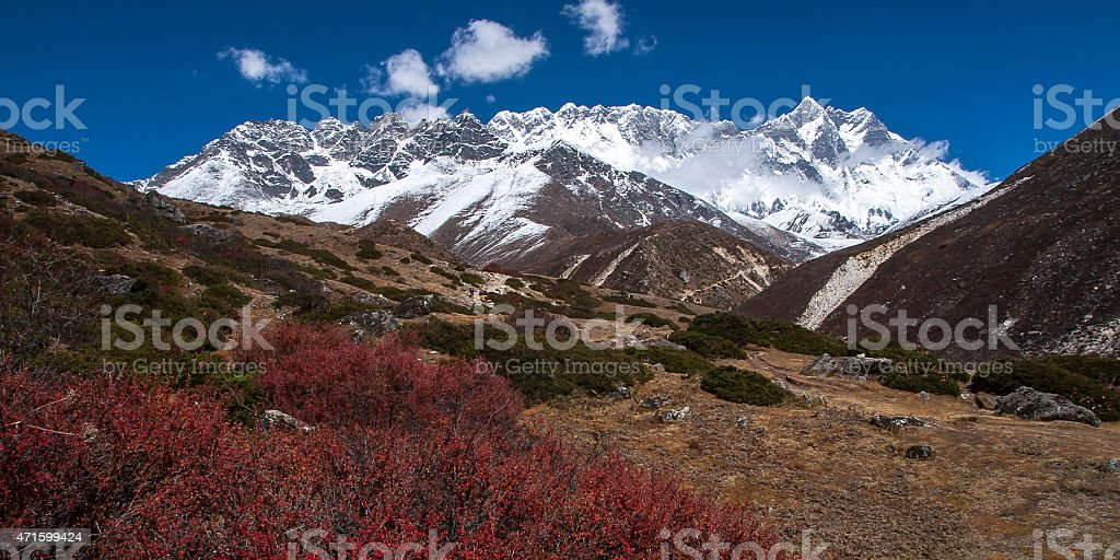 view of the Himalayas (Lhotse on the right) from Somare stock photo
