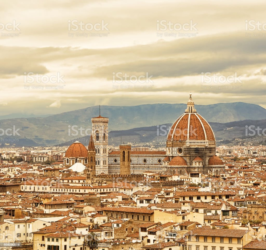 View of the historic center of Florence, Italy from viewing point on Piazzale Michelangelo royalty-free stock photo