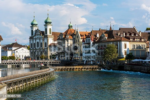 View of the historic Lucerne town with Jesuit Church in Switzerland.