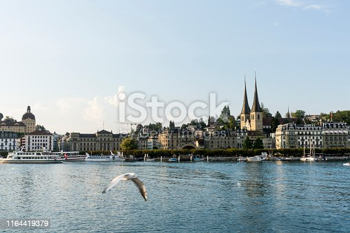 View of the historic luzern town with Jesuit Church in Lucerne, Switzerland