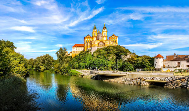 View of the historic Melk Abbey, Austria Melk Abbey, Austria, Stift Melk, Famous, Summer abbey monastery stock pictures, royalty-free photos & images