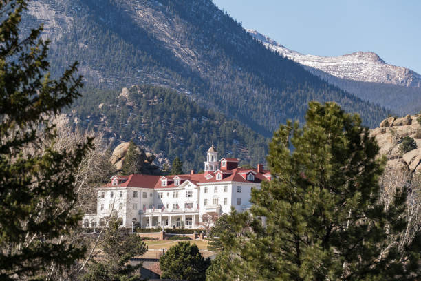 View of the historic Stanley Hotel in Estes Park stock photo