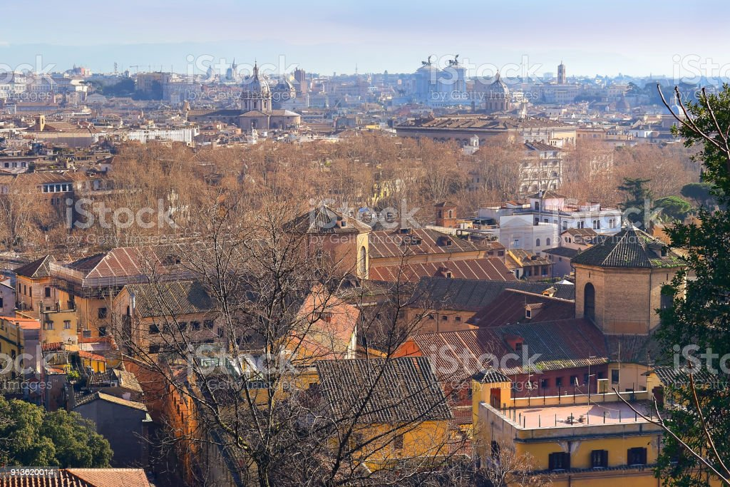 view of the historical center of Rome from the height of the Janiculum Hill stock photo