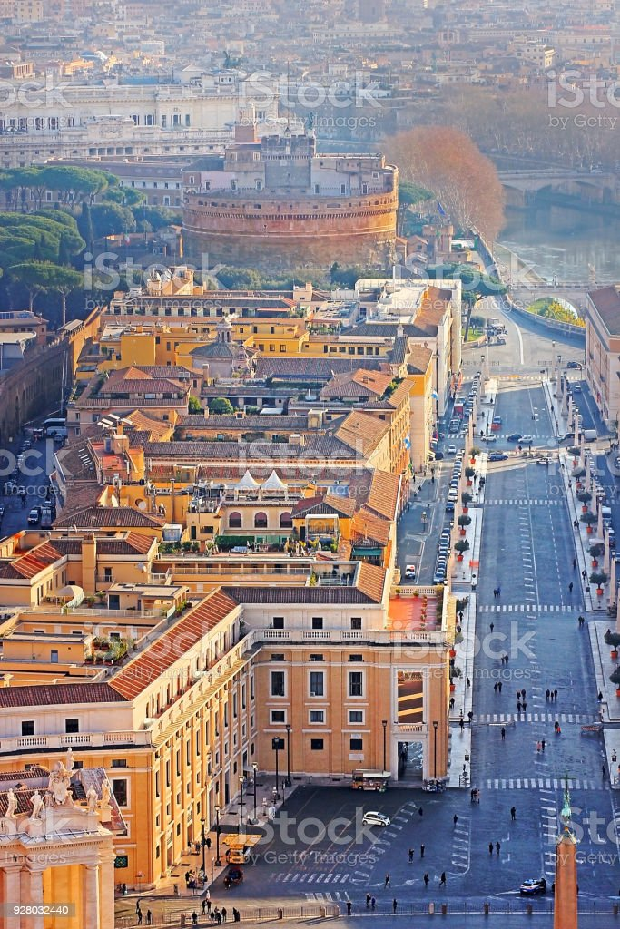 view of the historical center of Rome from the height stock photo