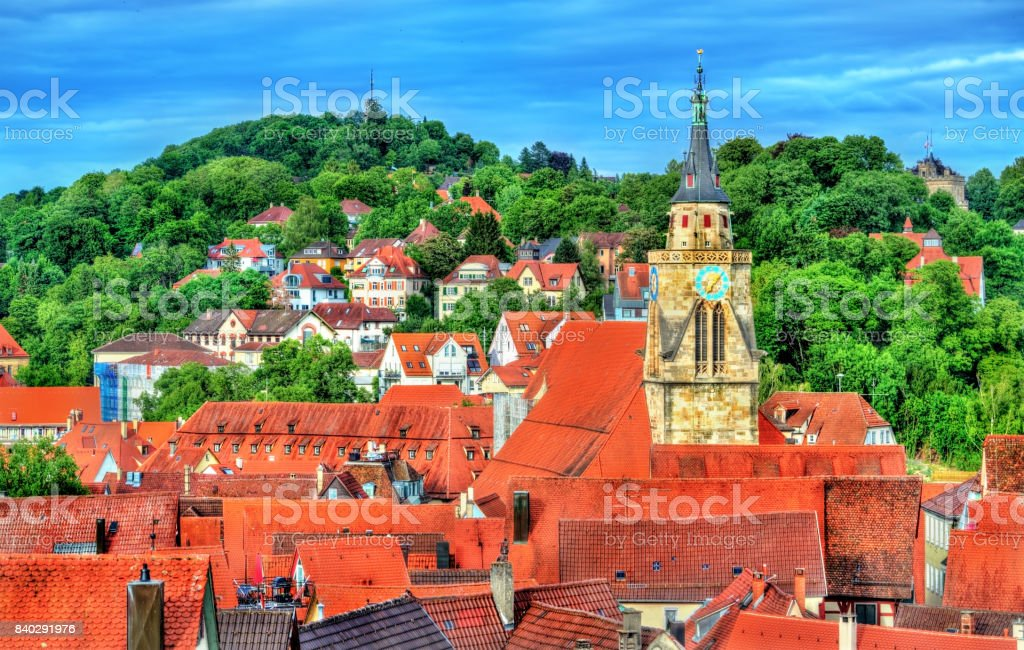 View of the historical center of Tubingen, Baden Wurttemberg, Germany stock photo