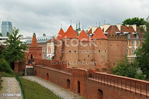 WARSAW, POLAND - MAY 12, 2012: View of the historical Warsaw Barbican. Is a one of few remaining relics of the complex network of historic fortifications that once encircled Warsaw.
