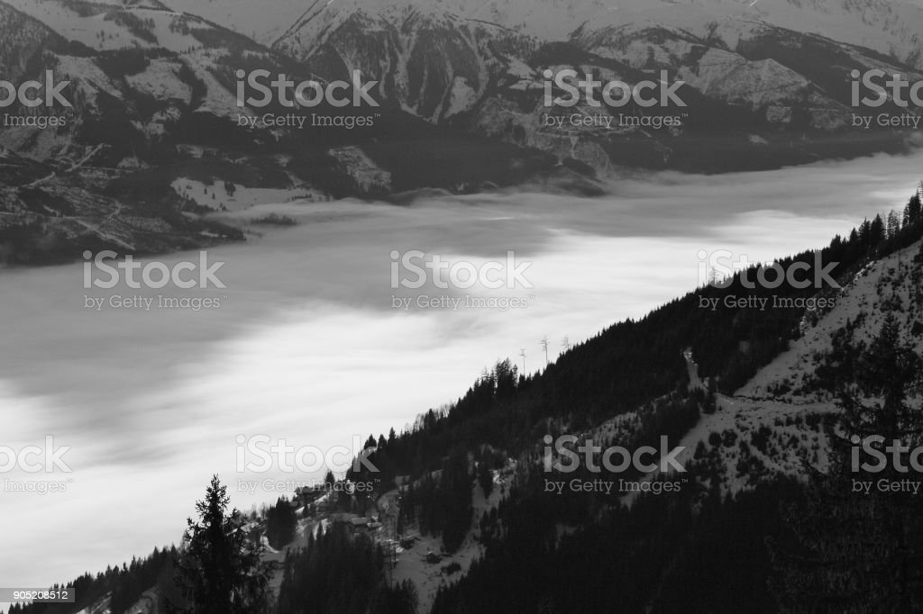 View of the Hohe Tauern mountain range and valley, Zell am See, Austria. stock photo