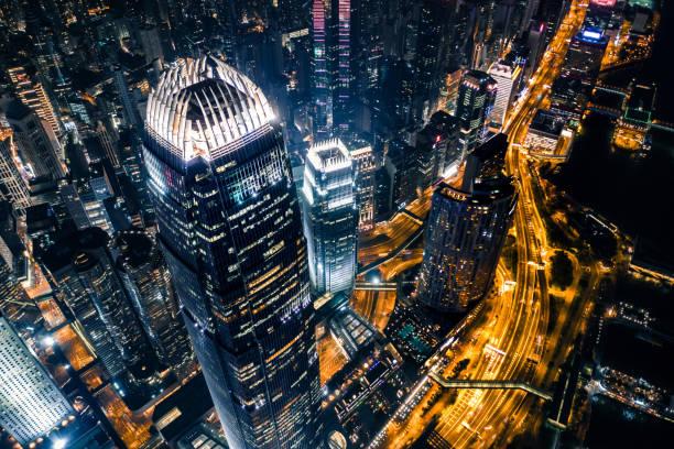 夜晚的香港景色 - 金融與經濟 個照片及圖片檔