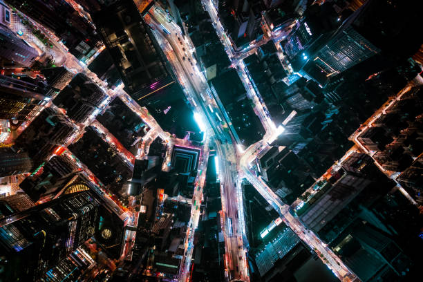 View of the Hong Kong at night Central District - Hong Kong, Hong Kong, Hong Kong Island, Aerial View, Island brics stock pictures, royalty-free photos & images
